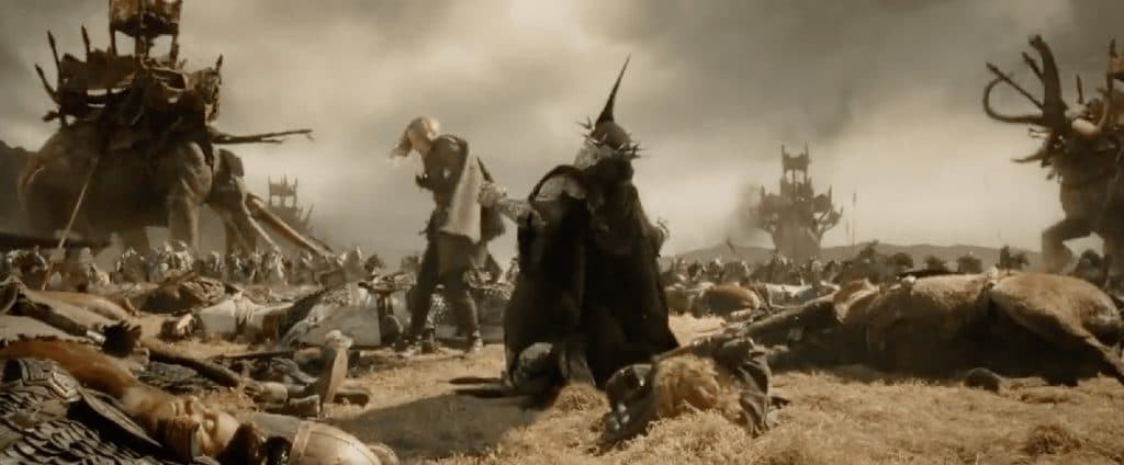 Lord of the Rings: Return of the King. I did the rotoscope work around the hobbit on the ground.