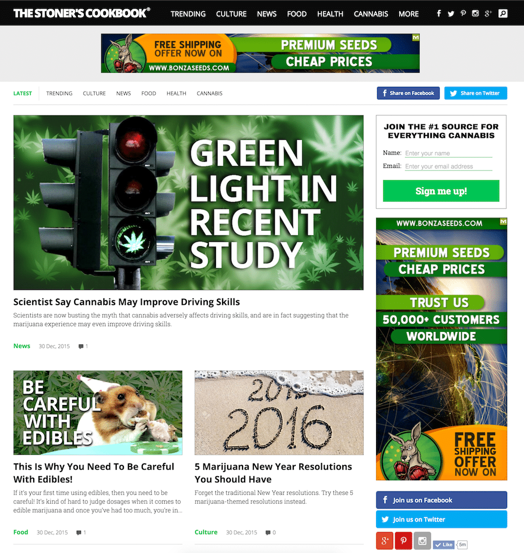 The Stoner's Cookbook Wordpress Theme